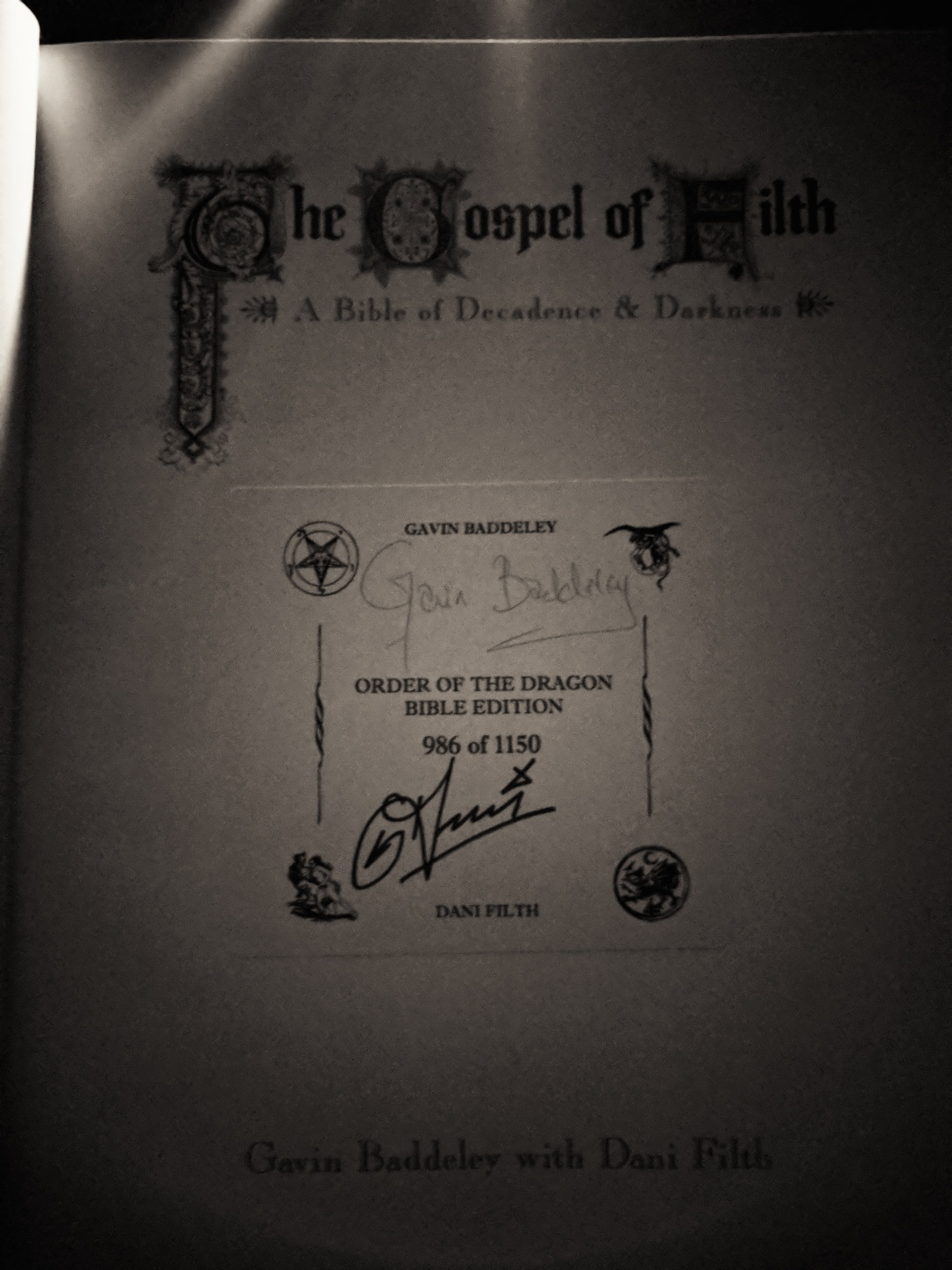 The Gospel of Filth Signed Page