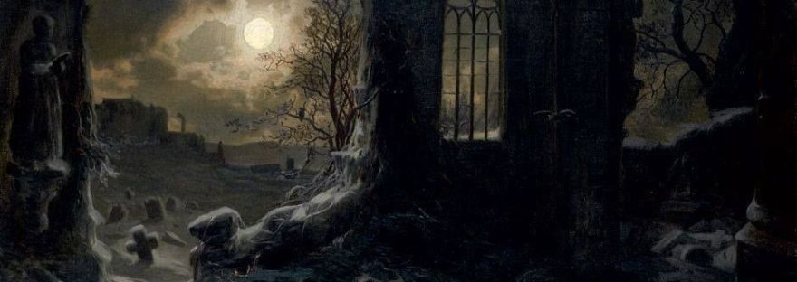 Felix Kreutzer - Ruins of a Gothic chapel at full moon night (19th century)